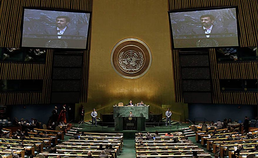 Mahmoud Ahmadinejad, President of Iran, addresses a summit on the Millennium Development Goals at United Nations headquarters, Tuesday, Sept. 21, 2010. (AP Photo/Richard Drew)
