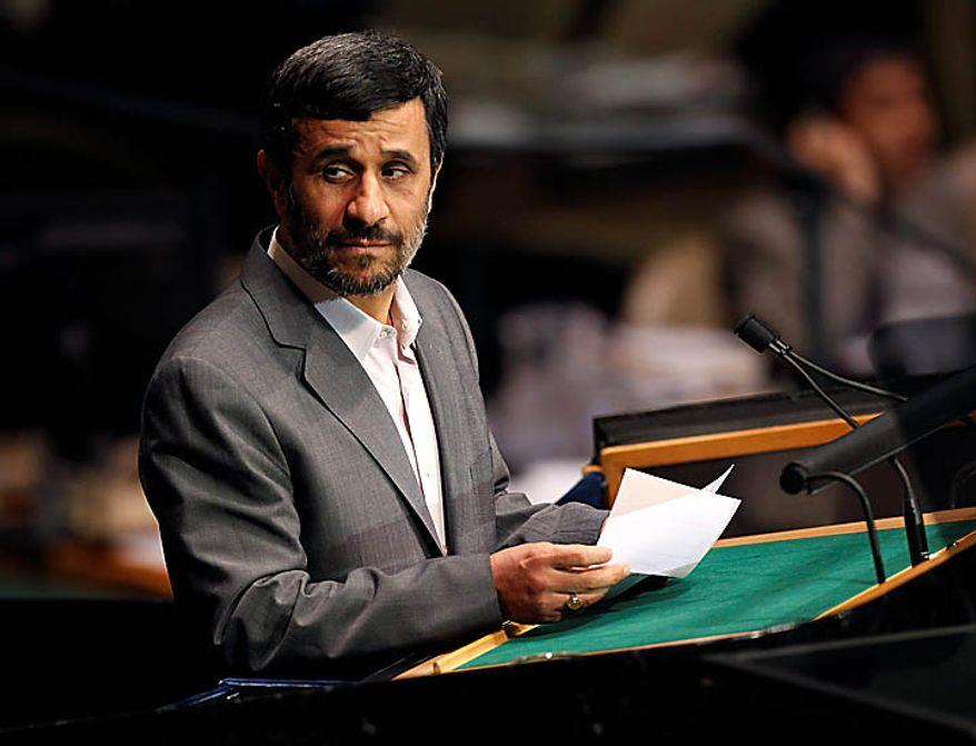 ** FILE ** Iranian President Mahmoud Ahmadinejad speaks at the United Nations in New York on Tuesday, Sept. 21, 2010.  (AP Photo/Seth Wenig)