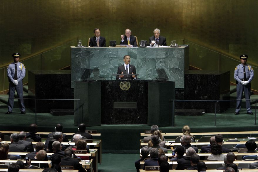 President Barack Obama addresses a summit on the Millennium Development Goals at United Nations headquarters Wednesday, Sept. 22, 2010. (AP Photo/Richard Drew)