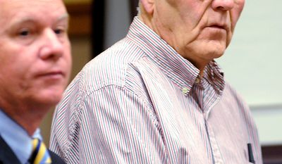 """In this June 6, 2010 file photo, Austin """"Jack"""" DeCoster, right, appears in a Lewiston, Maine, court with Timothy O'Brien, a lawyer representing Maine Contract Farming, LLC, on 10 counts of animal cruelty stemming from an undercover investigation in 2009 by Mercy For Animals at the Turner egg farm. (AP Photo/Sun Journal, Amber Waterman, File)"""