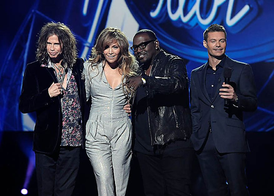 From left to right, singer Steven Tyler, singer Jennifer Lopez, musician Randy Jackson, and television personality Ryan Seacrest at the American Idol Season Ten judge announcement in Inglewood, Calif. on Wednesday, Sept. 22, 2010.  (AP Photo/Dan Steinberg)