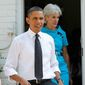 ** FILE ** President Barack Obama, accompanied by Health and Human Services Secretary Kathleen Sebelius, arrives in the backyard of a private residence in Falls Church, Va., Wednesday, Sept. 22, 2010, to discuss the Patient's Bill of Rights and health care reform. (AP Photo/Pablo Martinez Monsivais)
