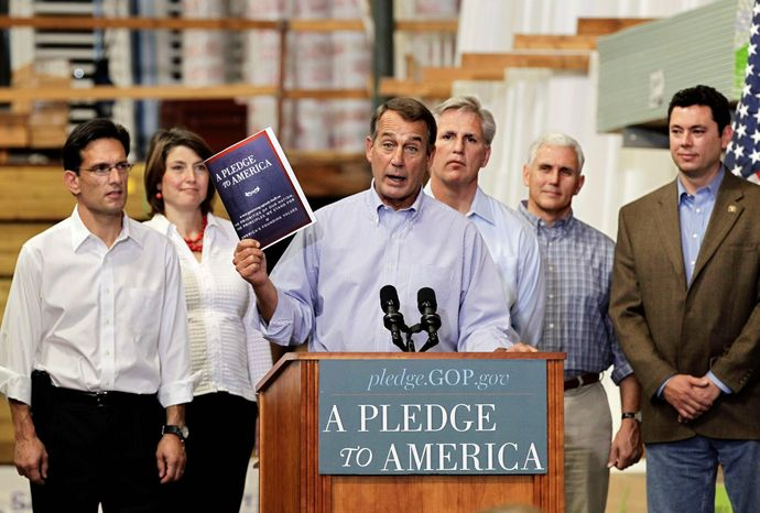 "House Minority Leader John Boehner of Ohio, center, holds up a copy of the GOP agenda, ""A Pledge to America"", Thursday, Sept. 23, 2010, at a lumber yard in Sterling, Va. From left are, House Minority Whip Eric Cantor of Va., Rep. Cathy McMorris Rodgers, R-Wash., Boehner, Rep. Kevin McCarthy, R-Calif., Rep. Mike Pence, R-Ind., and Rep. Jason Chaffetz, R-Utah. (AP Photo/J. Scott Applewhite)"
