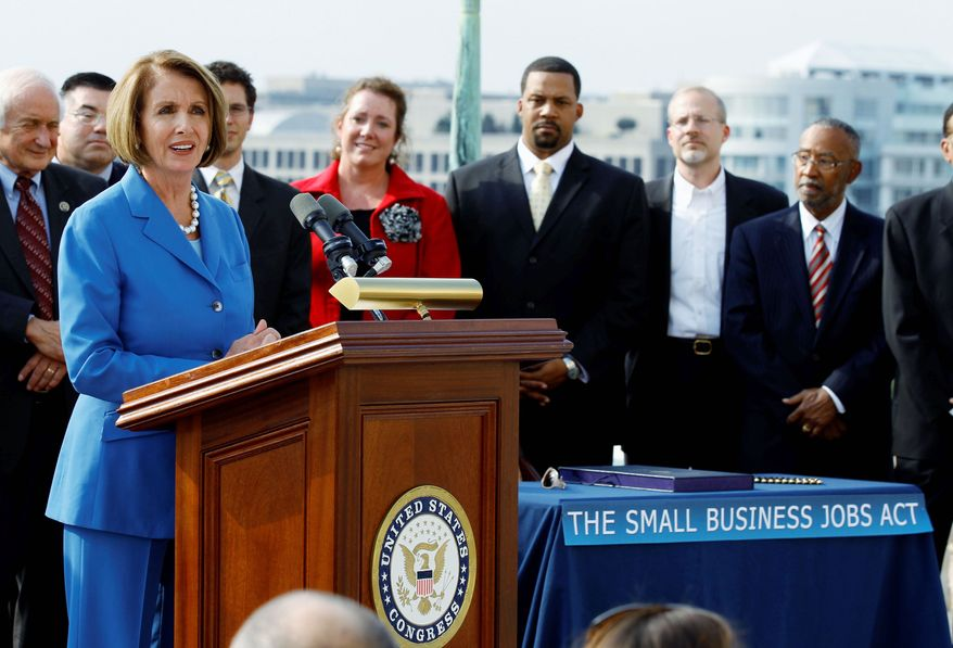 ASSOCIATED PRESS House Speaker Nancy Pelosi of California (left) speaks during an enrollment ceremony with small-business owners and advocates before signing the Small Business Jobs Act and sending it to President Obama.