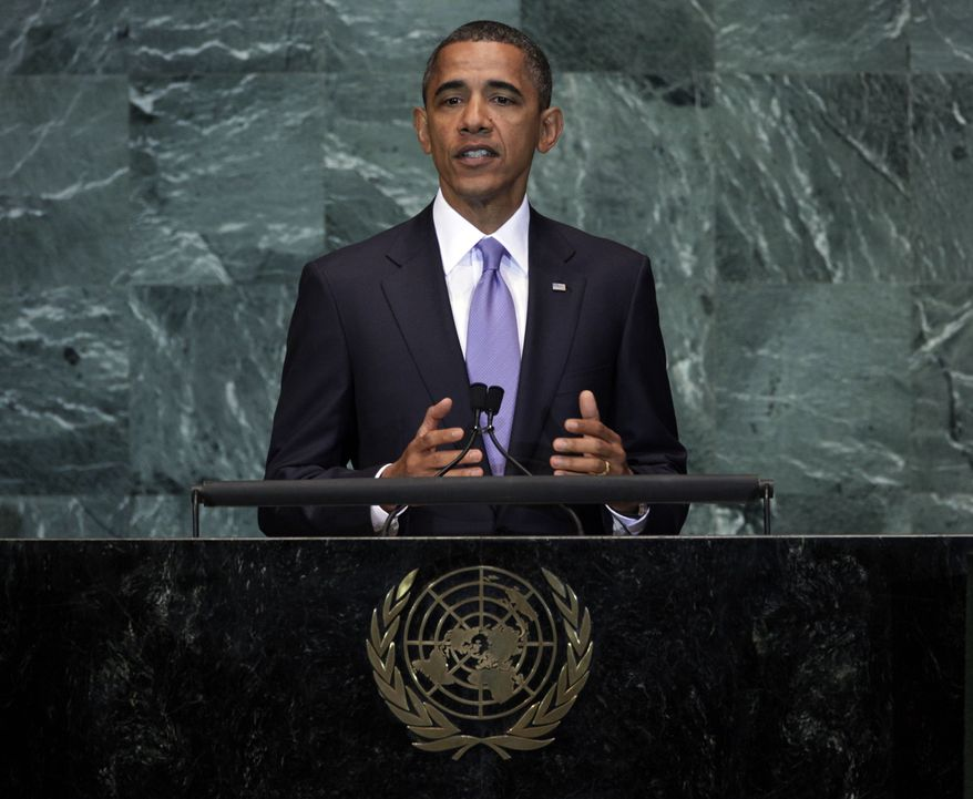 President Obama addresses the 65th session of the United Nations General Assembly on Thursday, Sept. 23, 2010, at the United Nations headquarters. (AP Photo/Richard Drew)