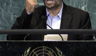 ASSOCIATED PRESS Mahmoud Ahmadinejad, President of Iran, addresses the 65th session of the United Nations General Assembly, Thursday, Sept. 23, 2010.