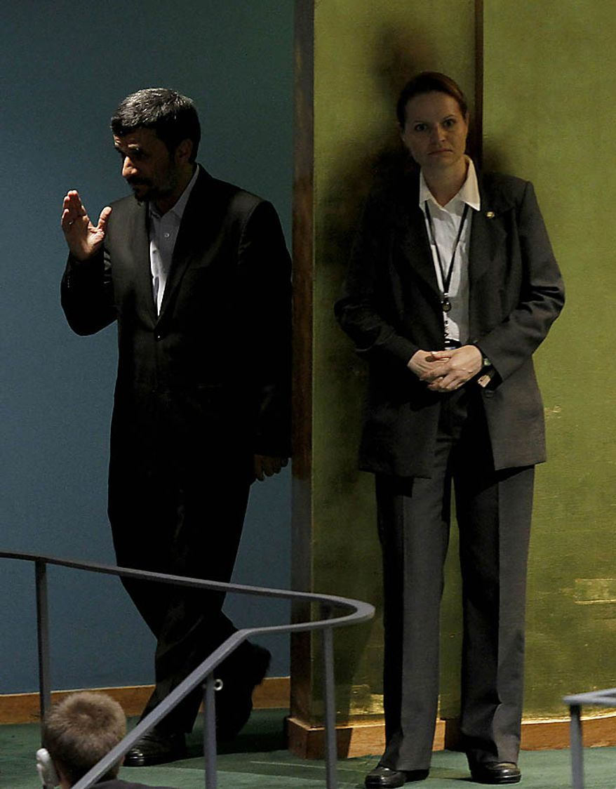 Mahmoud Ahmadinejad, President of the Islamic Republic of Iran, enters before speaking at the 65th United Nations General Assembly in the UN building in New York City on September 23, 2010.      UPI/John Angelillo