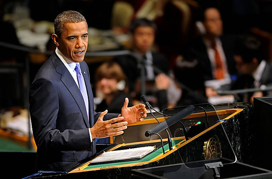 President Barack Obama addresses the United Nations General Assembly at United Nations headquarters on Thursday, Sept. 23, 2010. (AP Photo/Henny Ray Abrams)