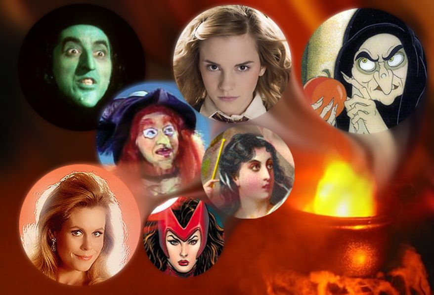From the top; The Wicked Witch of the West, Hermione Granger, Queen Grimhilde, Wilhelmina W. Witchiepoo, Samantha in Bewitched, Scarlet Witch and The Witch of Endor