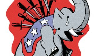 Illustration: RINO Treachery by Alexander Hunter for The Washington Times