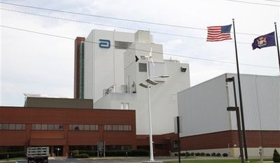Abbott Laboratories manufacturing plant is shown in Sturgis, Mich., Thursday, Sept. 23, 2010. Drugmaker Abbott Laboratories said Wednesday it is recalling millions of containers of its best-selling Similac infant formula that may be contaminated with insect parts. Abbott says it uncovered the insects last week at the Sturgis manufacturing plant. (AP Photo/Sturgis Journal, Brandon Watson)