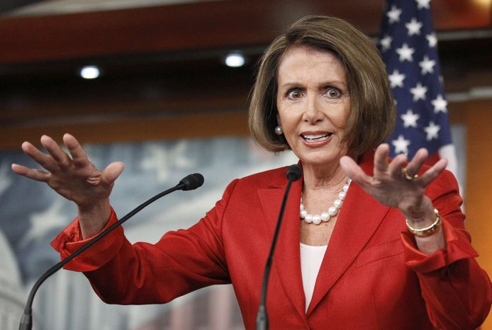 House Speaker Nancy Pelosi of California gestures during a news conference on Capitol Hill in Washington on Friday, Sept. 24, 2010. (AP Photo/Manuel Balce Ceneta)