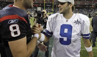 FILE - In this Aug. 28, 2010,  file photo Dallas Cowboys quarterback Tony Romo (9) and Houston Texans quarterback Matt Schaub (8) shake hands after an NFL preseason football game, in Houston. Romo and the winless Cowboys come to Houston this weekend to take on Schaub and the undefeated Texans.  (AP Photo/David J. Phillip, File)
