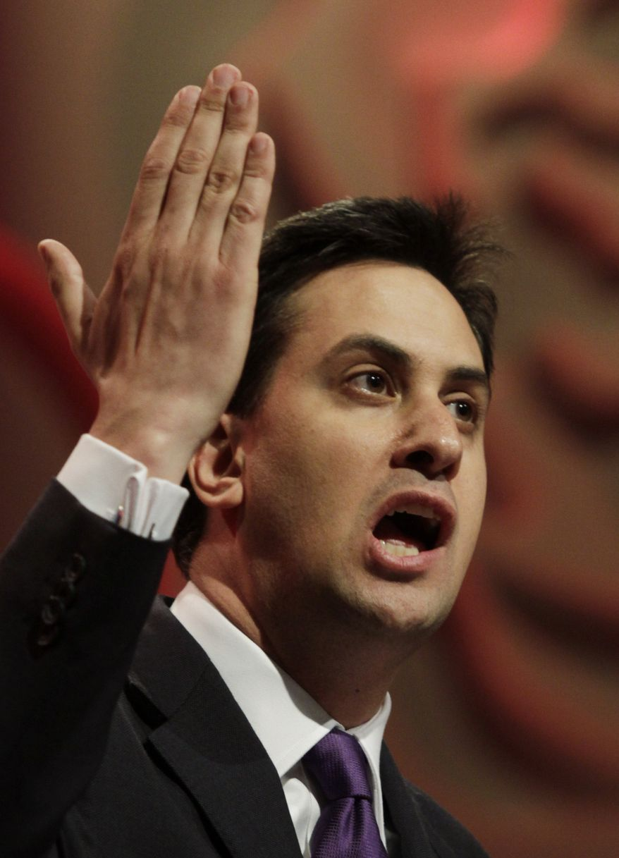 Ed Miliband, newly-elected leader of Britain's opposition Labor Party, delivers his speech following the announcement at the start of the party's annual conference in Manchester, England, on Saturday, Sept. 25, 2010. (AP Photo/Lefteris Pitarakis)