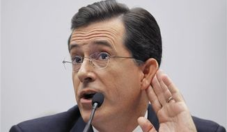 Comedian Stephen Colbert, host of the Colbert Report, testifies on Capitol Hill in Washington, Friday, Sept. 24, 2010, before the House Immigration, Citizenship, Refugees, Border Security and International Law subcommittee hearing on Protecting America's Harvest. (AP Photo/Alex Brandon)