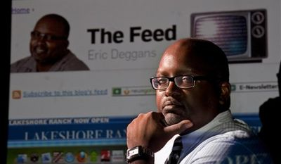 """This Sept. 23, 2010 picture shows Eric Deggans, St. Petersburg Times media critic, who maintains a blog entitled """"The Feed"""" on the newspaper's website. """"When there are forums about race, people flock there to do battle,"""" said Deggans. Whenever he blogs about race, """"about 20 percent of the comments will be straight-up racist. Another 20 percent are questionable."""" The racial comments and other personal attacks have made Deggans feel more defensive, as if he's always under attack: """"It wears you down after a while."""" He said, """"I have to constantly coach myself to dial down the hurt and the anger, because you get three comments that are really hurtful and prejudiced, but the fourth is someone who wants to have a genuine conversation.""""(AP Photo/St. Petersburg Times, Boyzell Hosey)  MANDATORY CREDIT: ST. PETERSBURG TIMES, BOYZELL HOSEY"""