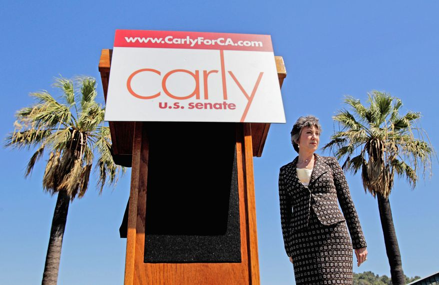 Associated Press Republican candidate for the U.S. Senate in California Carly Fiorina, seen here at campaign even Sept. 13 in Glendale, Calif., has a very personal reason for her pro-life stance. Her mother-in-law was advised to abort the son who became her husband.