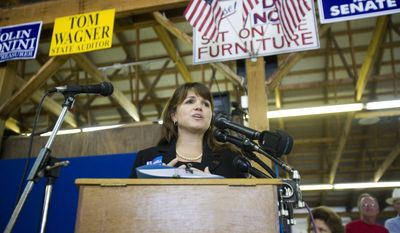 ** FILE ** Delaware Republican Senate candidate Christine O'Donnell speaks at a Sussex County Republican Committee picnic on Sunday, Sept. 19, 2010, in Lincoln, Del. (AP Photo/Jessica Kourkounis)