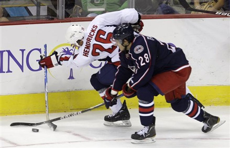 Washington Capitals'  Matt Hendricks, left, breaks his stick while trying to clear the puck against Columbus Blue Jackets' Nikita Filatov, of Russia, during the third period of an NHL hockey game Wednesday, Sept. 22, 2010, in Columbus, Ohio. The Capitals defeated the Blue Jackets 6-2. (AP Photo/Jay LaPrete)