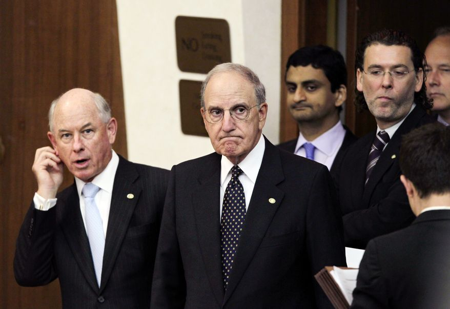 ** FILE ** Special Mideast peace envoy George Mitchell (center) arrives to update reporters on the peace talks among Israel, the Palestinian Authority and the United States as negotiations continued at the State Department in Washington on Thursday, Sept. 2, 2010. State Department spokesman P.J. Crowley is at left. (AP Photo/J. Scott Applewhite)