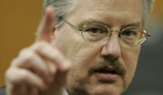 In this March 14, 2007, file photo, Calumet County District Attorney Ken Kratz gives closing arguments during a trial at the Calumet County Courthouse in Chilton, Wis. On Monday, Sept. 27, 2010, an attorney for Mr. Kratz said he will resign before proceedings to remove him for sending sexually charged text messages to a domestic abuse victim. (AP Photo/Morry Gash, Pool, File)