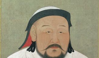 "This undated picture provided by The Metropolitan Museum of Art shows ""Khubilai Khan as the First Yuan Emperor, Shizu,"" rendered in ink and color on silk. It will be displayed in ""The World of Khubilai Khan: Chinese Art in the Yuan Dynasty.""  The show runs in New York from Sept. 28, 2010 to Jan. 2, 2011. (AP Photo/The Metropolitan Museum of Art)"