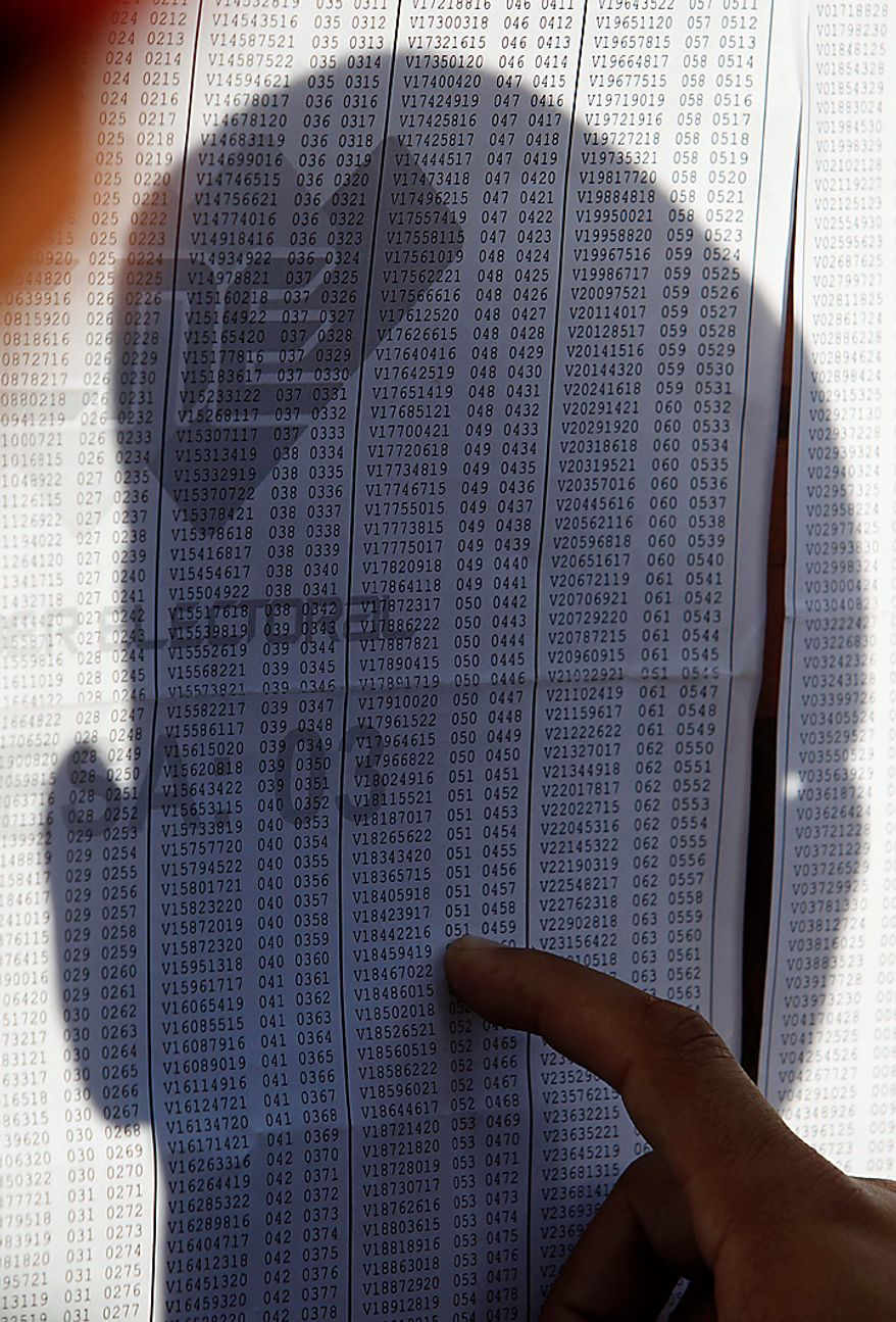 A soldier looks for his polling station at a public school during congressional elections in Caracas, Venezuela, Sunday, Sept. 26, 2010. (AP Photo/Fernando Llano)
