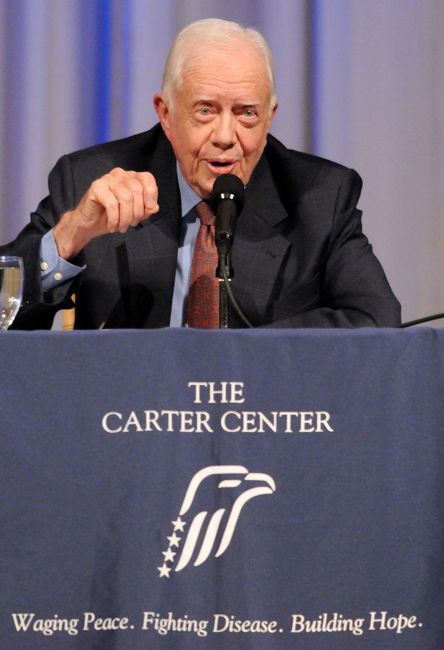 Former President Jimmy Carter speaks at The Carter Center during a conversation on Tuesday, Sept. 14, 2010, in Atlanta. (AP Photo/Erik S. Lesser)