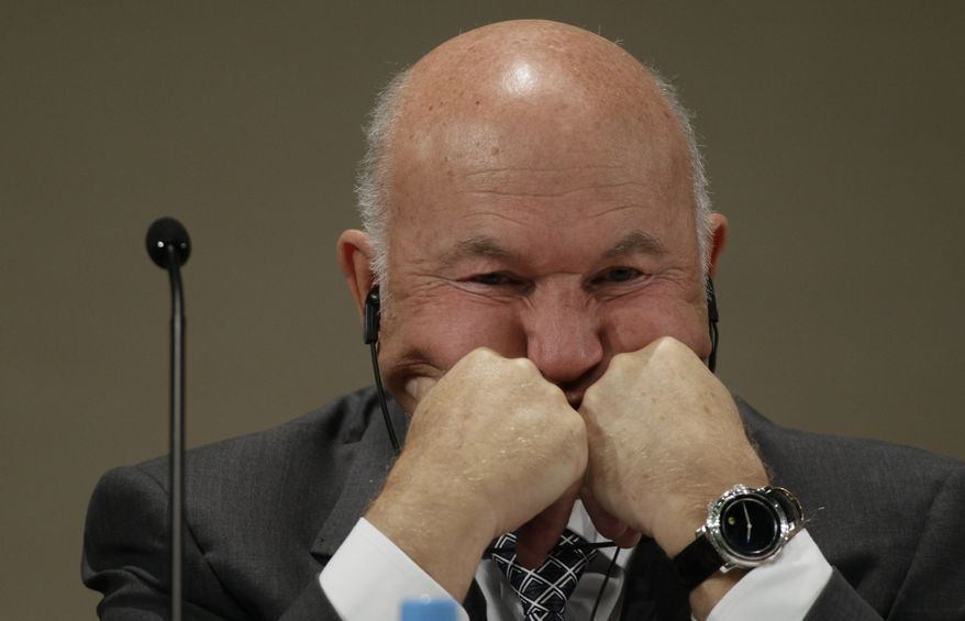 Moscow Mayor Yuri Luzhkov reacts during the Unesco's early childhood care conference in Moscow on Monday, Sept. 27, 2010, a day before the Kremlin fired him. (AP Photo/Ivan Sekretarev)
