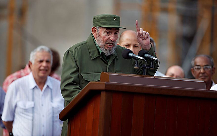 Cuba's leader Fidel Castro delivers a speech during the 50th anniversary of the Committee for the Defense of the Revolution, CDR, in Havana, Cuba, Tuesday, Sept. 28, 2010. (AP Photo/Javier Galeano)