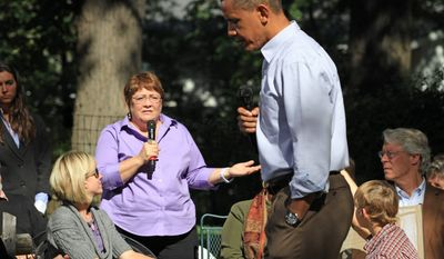 The president takes a question from Marti Anderson at Jeff and Sandy Clubb's home during an invitation-only event in their Des Moines, Iowa, backyard. A Des Moines man wanted to know why Mr. Obama was pushing for a tax increase on upper-income taxpayers.