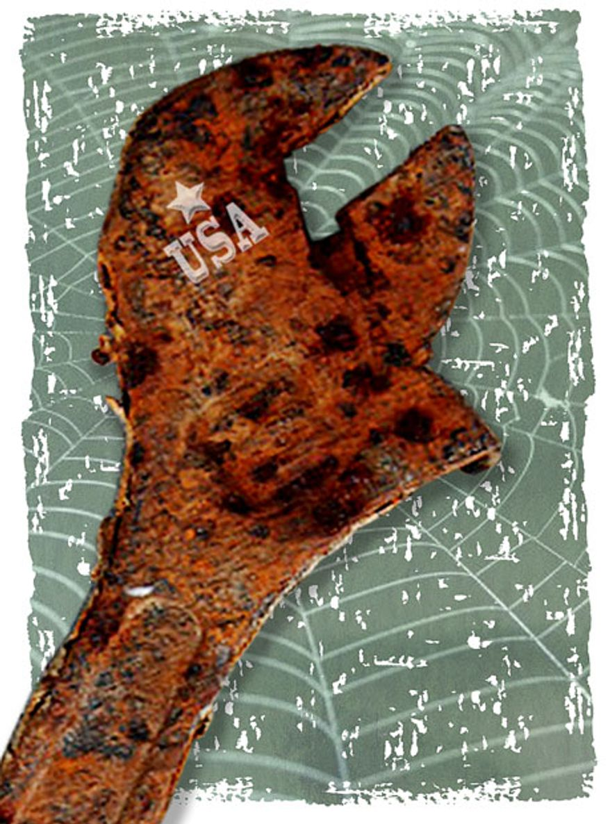 Illustration: Rusty wrench by Greg Groesch for The Washington Times