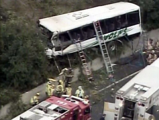 ASSOCIATED PRESS This image taken from video provided by WJLA shows a bus after crashing along I-270 in Bethesda, Md., Wednesday, Sept. 29, 2010. Maryland State Police say the commuter bus plunged off a highway outside the nation's capital.