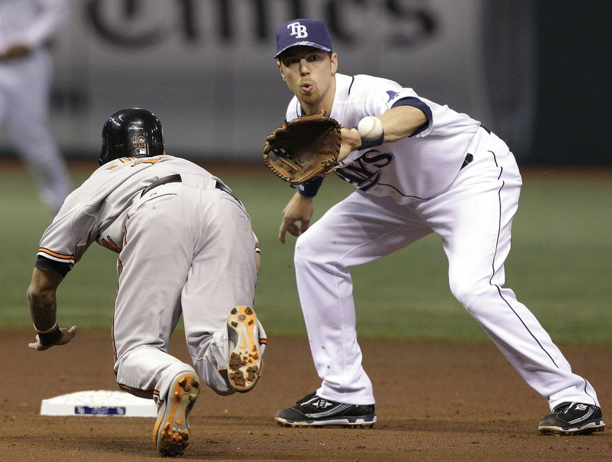 ASSOCIATED PRESS Tampa Bay Rays second baseman Ben Zobrist, right, prepares to tag out Baltimore Orioles' Robert Andino on a second-inning stolen-base attempt during the third inning of a baseball game Wednesday, Sept. 29, 2010, in St. Petersburg, Fla.