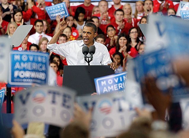 President Barack Obama speaks at a rally Tuesday, Sept. 28, 2010, on the University of Wisconsin campus in Madison, Wis. (AP Photo/Morry Gash)