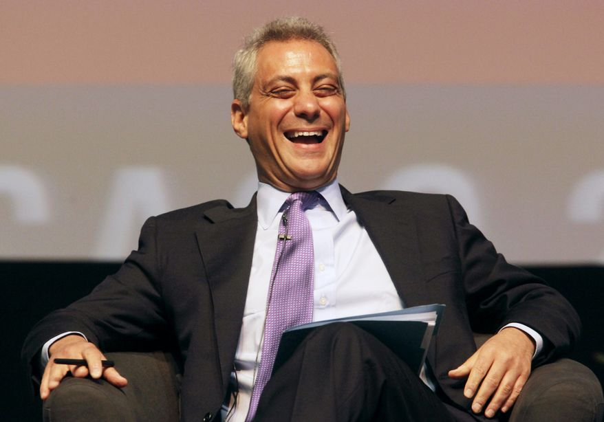 In this April 27, 2010, file photo, White House Chief of Staff Rahm Emanuel laughs as he takes some good natured ribbing about his plans to run for mayor of Chicago while participating in the sixth annual Richard J. Daley Global Cities Forum in Chicago. (AP Photo/M. Spencer Green, File)