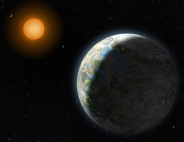 This undated handout artist rendering provided by Lynette Cook, National Science Foundation, shows a new planet, right. Astronomers have found a planet that is in the Goldilocks zone _ just right for life. Not too hot, not too cold. Not too far from its sun, not too close. And it is near Earth _ relatively speaking, at 120 trillion miles. It also makes scientists think that these examples of habitable planets are far more common than they thought. (AP Photo/Zina Deretsky, National Science Foundation)