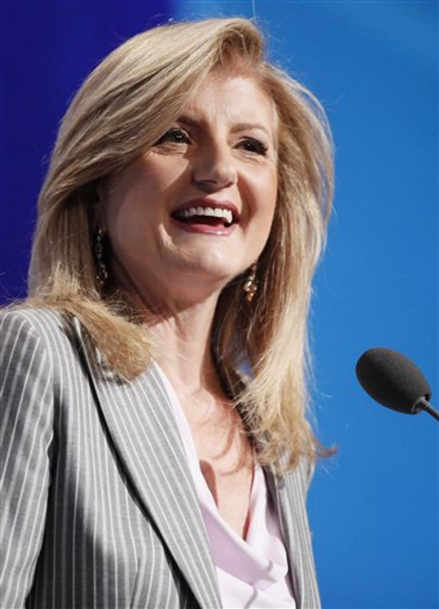 FILE - In this Sept. 23, 2010 file photo, Arianna Huffington speaks at the Clinton Global Initiative in New York. (AP Photo/Mark Lennihan, file)