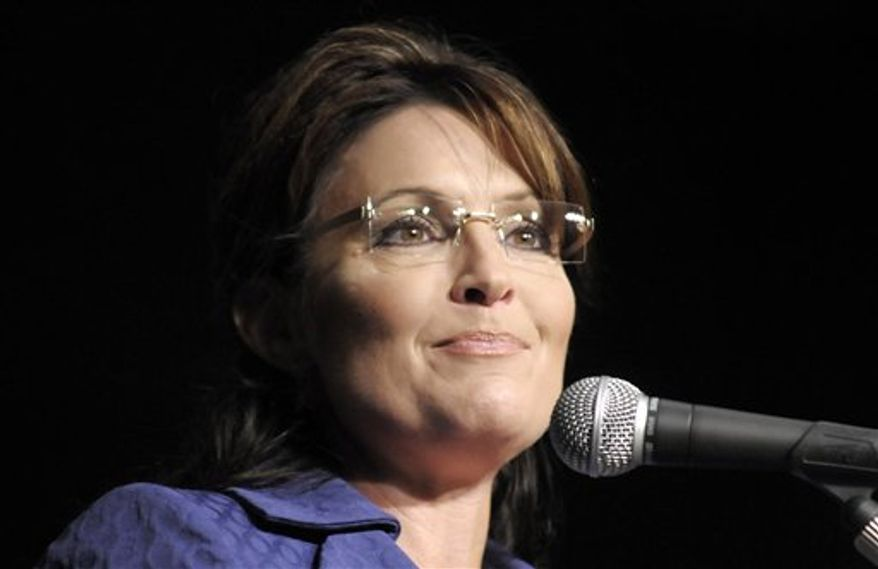 **FILE** In this photo from Sept. 15, 2010, former Alaska Gov. Sarah Palin appears as the featured speaker at the Oklahoma Council of Public Affairs' annual Liberty Gala at the Convention Center in Tulsa, Okla. (Associated Press)