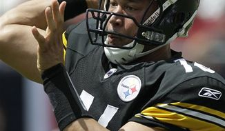 Pittsburgh Steelers wide receiver Hines Ward rolls through the end zone after catching a second quarter touchdown pass against the Tampa Bay Buccaneers during an NFL football game Sunday, Sept. 26, 2010, in Tampa, Fla. (AP Photo/Margaret Bowles)