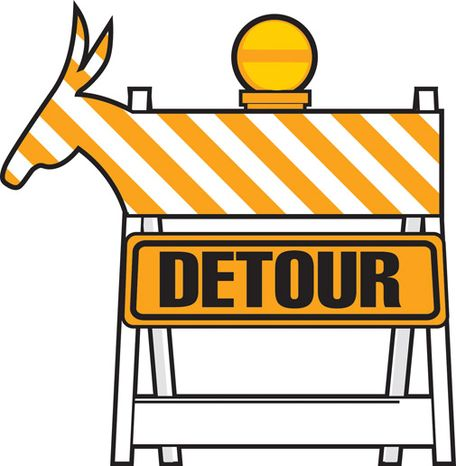 Illustration: Democratic detour by Linas Garsys for The Washington Times