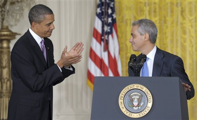 President Barack Obama applauds as outgoing White House Chief of Staff Rahm Emanuel announces that he will be stepping down to run for Mayor of Chicago, Friday, Oct. 1, 2010,  during an event in the East Room of the White House in Washington. (AP Photo/Susan Walsh)