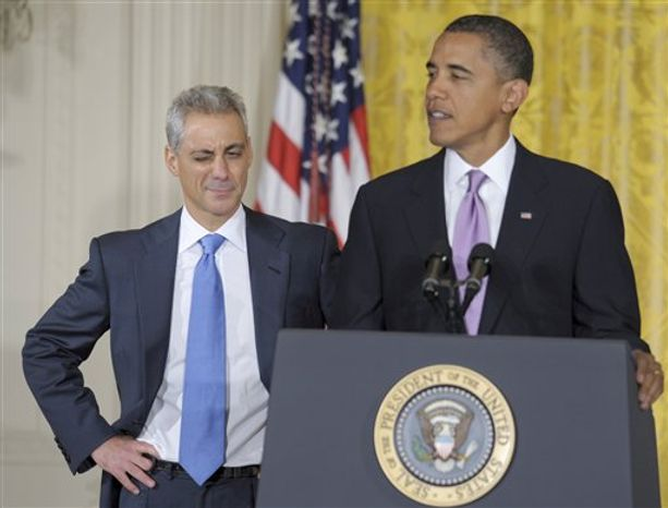 Outgoing White House Chief of Staff Rahm Emanuel winks as President Barack Obama speaks in the East Room of the White House in Washington, Friday, Oct. 1, 2010, during an announcement that Emanuel will be stepping down to run for Mayor of Chicago. Obama announced that Pete Rouse will be interim Chief of Staff. (AP Photo/Susan Walsh)