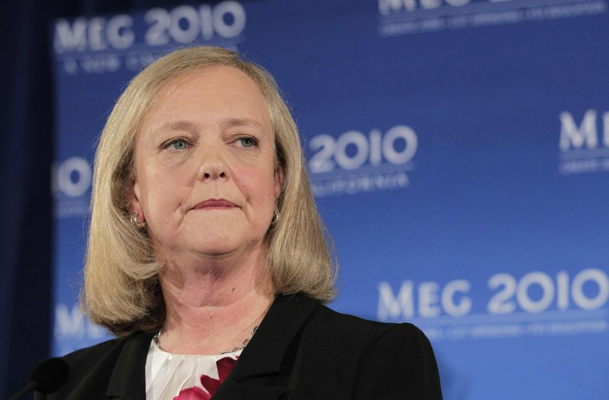 In this Sept. 30, 2010, file photo, California Republican gubernatorial candidate Meg Whitman listens to a question from reporters during a news conference in Santa Monica, Calif., (AP Photo/Jae C. Hong, File)