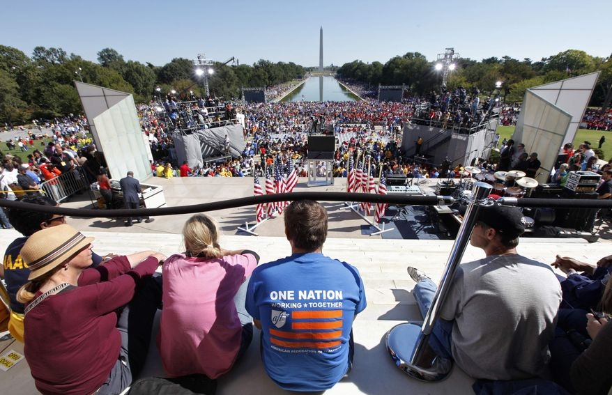"""Activists gather at the Lincoln Memorial to participate in the """"One Nation Working Together"""" rally to promote job creation, diversity and tolerance on Saturday, Oct. 2, 2010, in Washington. (AP Photo/J. Scott Applewhite)"""