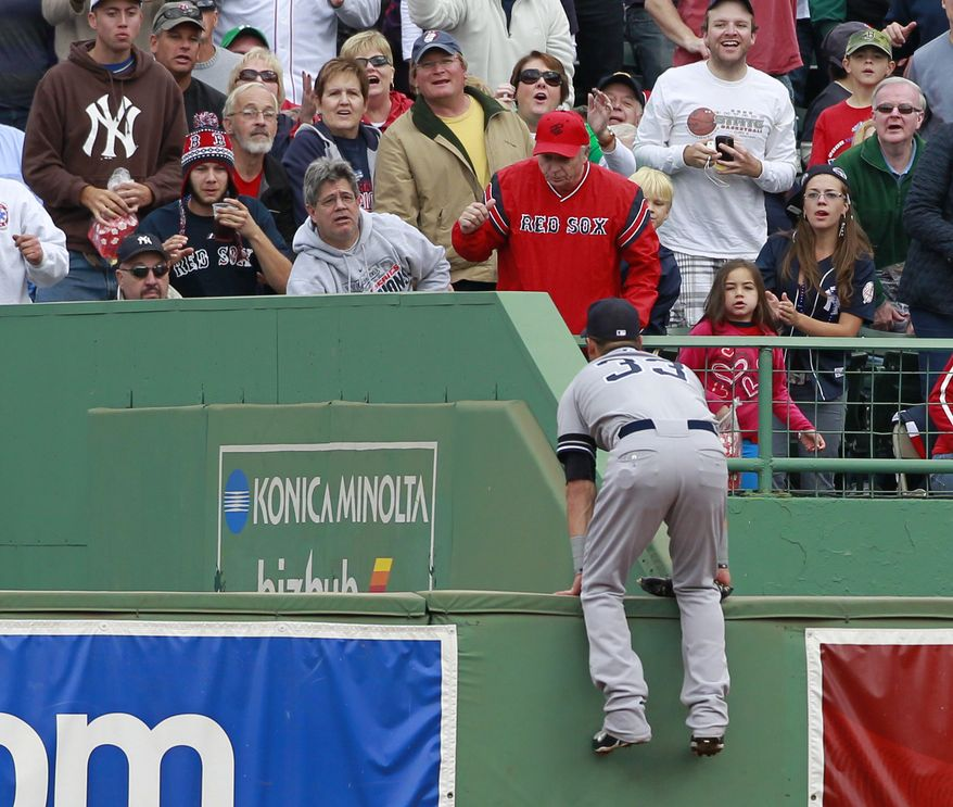 ASSOCIATED PRESS New York Yankees right fielder Nick Swisher (33) watches a two-run home run by Boston Red Sox's Jed Lowrie in the fifth inning of a baseball game, Sunday, Oct. 3, 2010, in Boston.