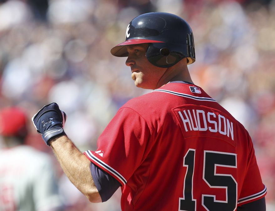 ASSOCIATED PRESS Atlanta Braves  starting pitcher Tim Hudson (15) reacts after driving in a run with a base hit in the fourth inning of a baseball game against the Philadelphia Phillies Sunday, Oct. 3, 2010 in Atlanta.