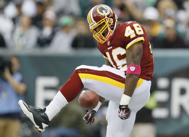 ASSOCIATED PRESS Washington Redskins  running back Ryan Torain celebrates his touchdown during the first half of an NFL football game against the Philadelphia Eagles in Philadelphia, Sunday, Oct. 3, 2010.