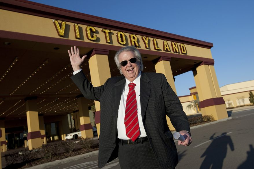 In a March 5, 2010, file photo, VictoryLand owner Milton McGregor is pictured at the casino in Shorter, Ala. McGregor, owner of Alabama's largest casino, along with four state senators and several top lobbyists have been indicted on federal charges accusing them of vote buying on a bill to legalize electronic bingo. The indictment was released Monday, Oct. 4, 2010. (AP Photo/Dave Martin, File)