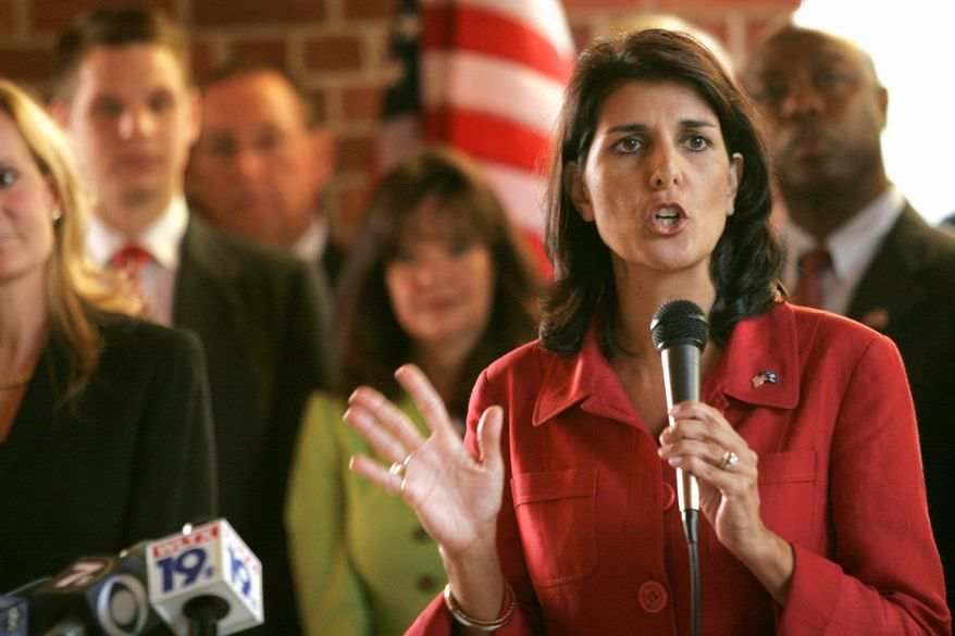 GOP candidate for governor of South Carolina Nikki Haley, seen here campaigning in Columbia, S.C., in June, would become the second Indian-American Republican governor if elected. (Associated Press)